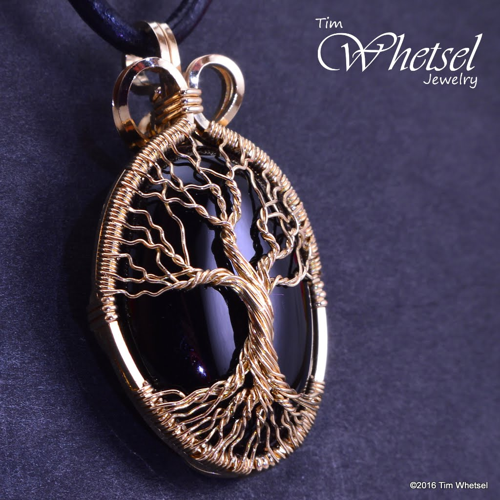 Custom 14k Gold Fill Wire Wrap Tree Of Life Onyx Pendant