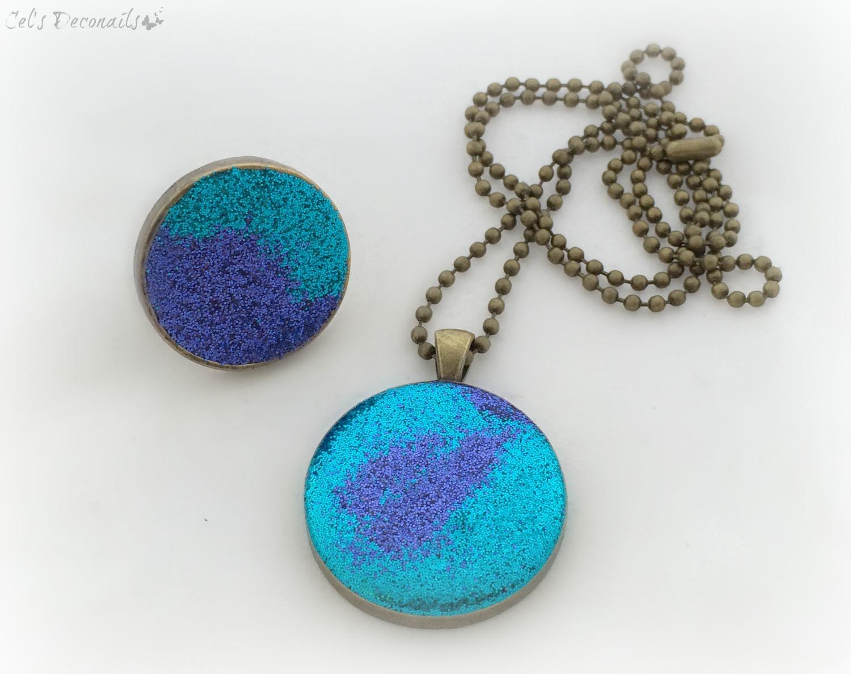 Necklace Light Blue Glitter Resin Pendant