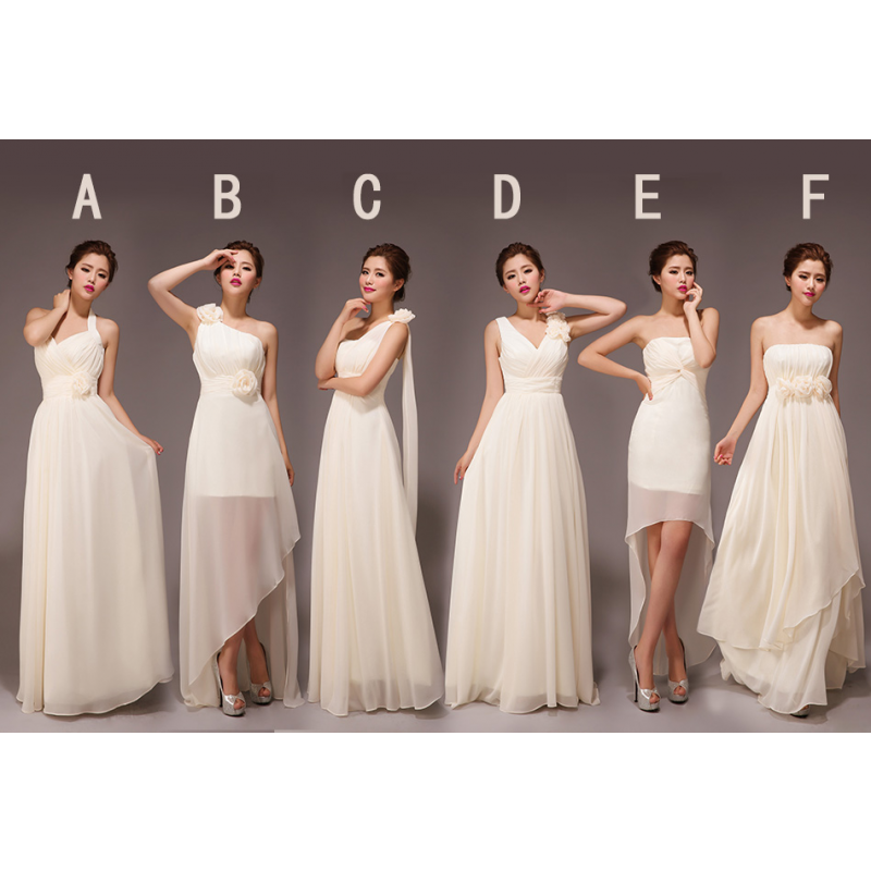 champagne bridesmaid dresses, long