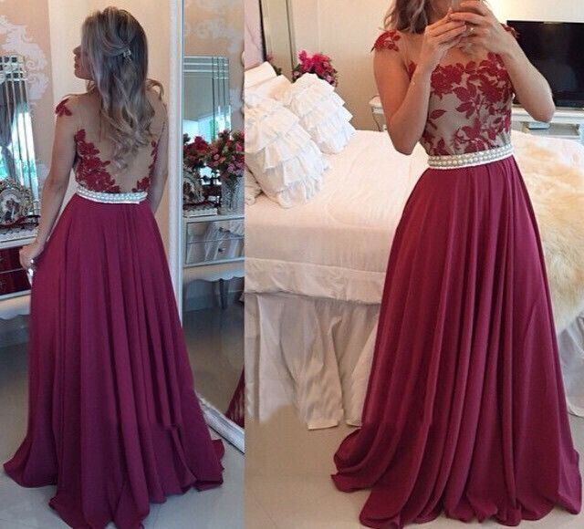 f30c630d98fbc lace backless prom dresses, sexy prom dress, chiffon prom dress, 2016 prom  dress