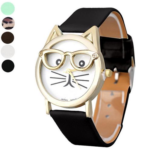 7c8162ad5 Relogio Feminino Montre femme Cute Glasses Cat Analog Quartz Dial Wrist Ladies  Watches Women Gift Fashion