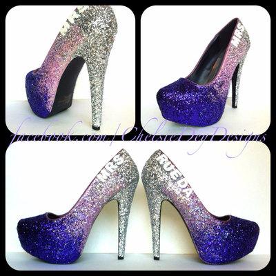 2c7707d7ef0d Purple glitter high heels - eggplant lilac lavender silver pumps - wedding  last name - sparkly