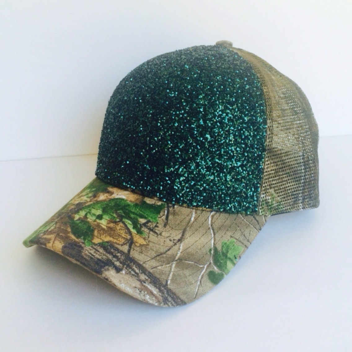 0d7c5a19299 Real Tree Forest Green Camo Glitter Baseball Mesh Back Canvas Country  Hunting Hat