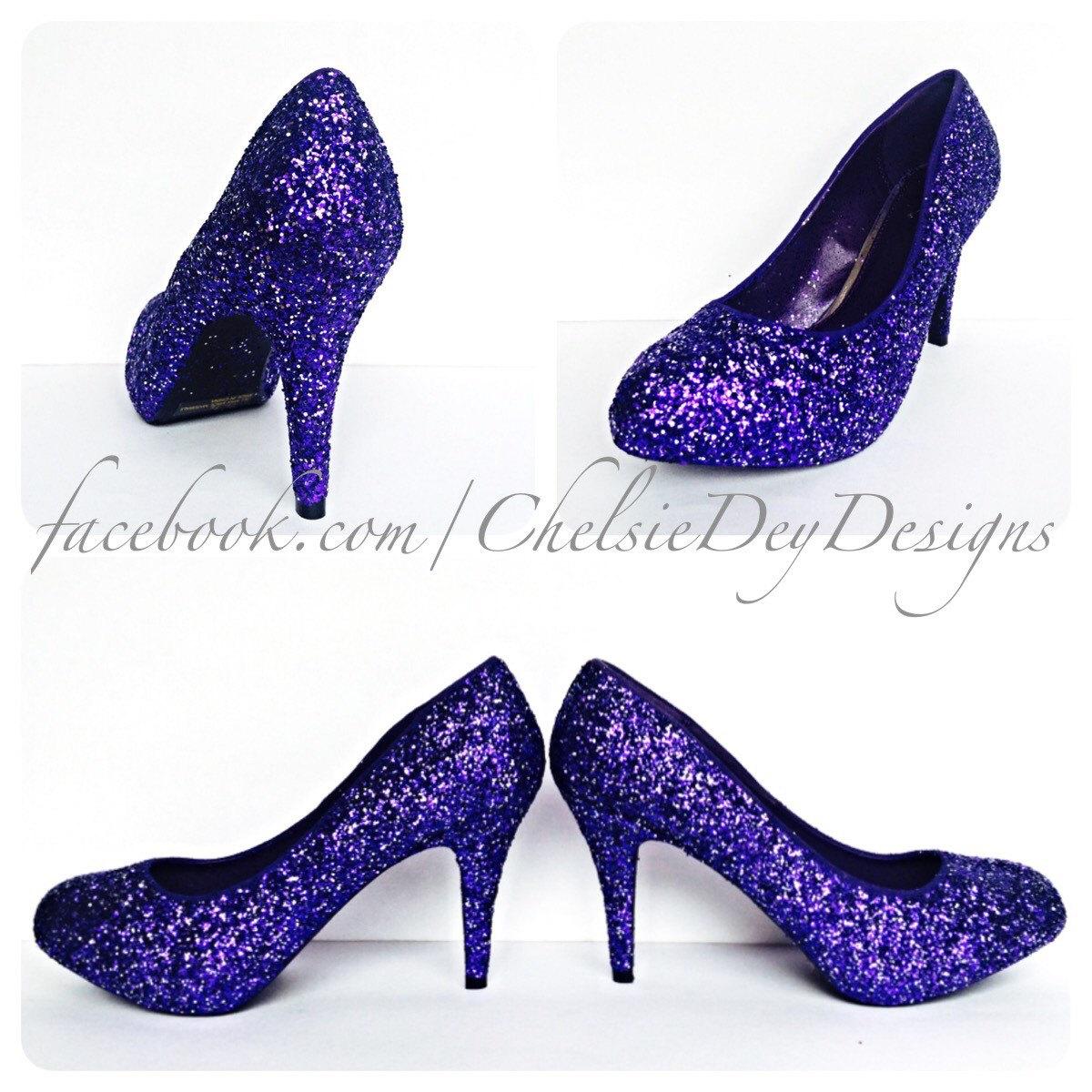 88eab29856e Purple   Silver Glitter Low Heels - Eggplant Royal Purple Pumps ...