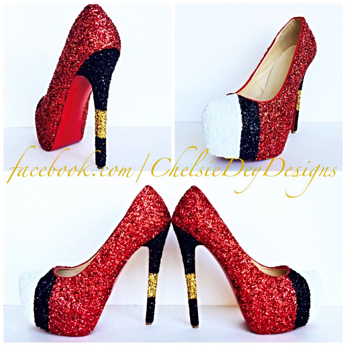 db55bcc066a09 Glitter High Heels - Black and Red Pumps - Swoop Platform Shoes - Sparkly  Wedding Shoes - Glitter Prom Heels - Gold Accents