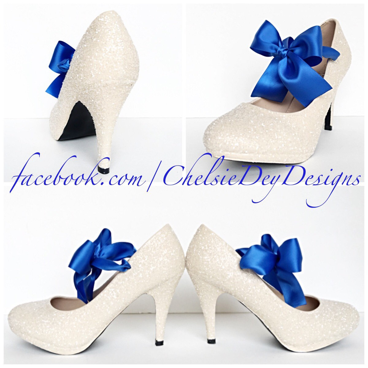 7c38aeaa9188 Off White Ivory High Heels - Glitter Pump High Heels - Royal Blue Satin  Bows -