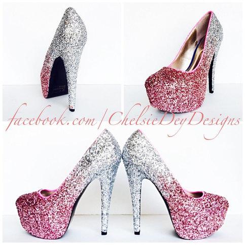 7290d360b16e Glitter High Heels - Blush Pink Pumps - Light Pink Silver Ombre Platform  Pumps - Sparkly Wedding Shoes - Prom Shoes · Chelsie Dey Designs · Online  Store ...