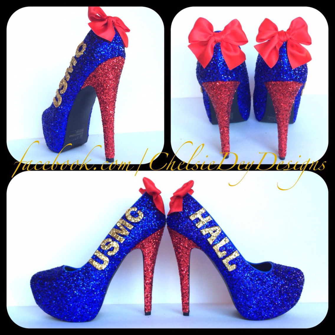 5c81b6207037 USMC Glitter High Heels Red Gold Royal Blue Pumps Marine