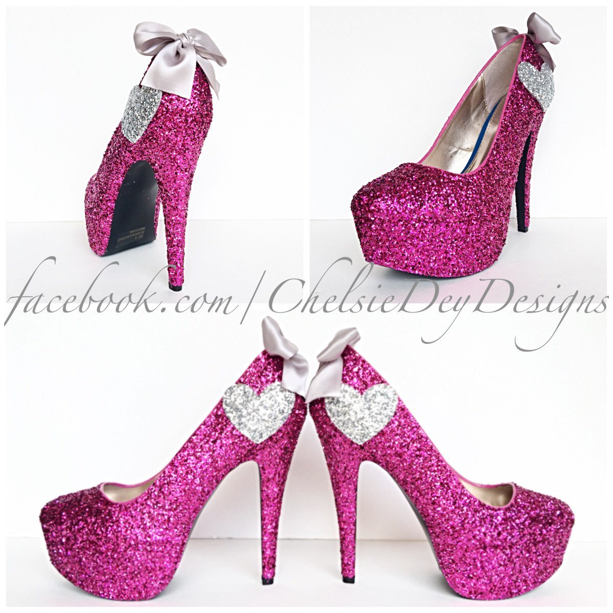 a9d8ec46f180 Glitter High Heels - Hot Pink Pumps - Sparkly Platform Shoes ...