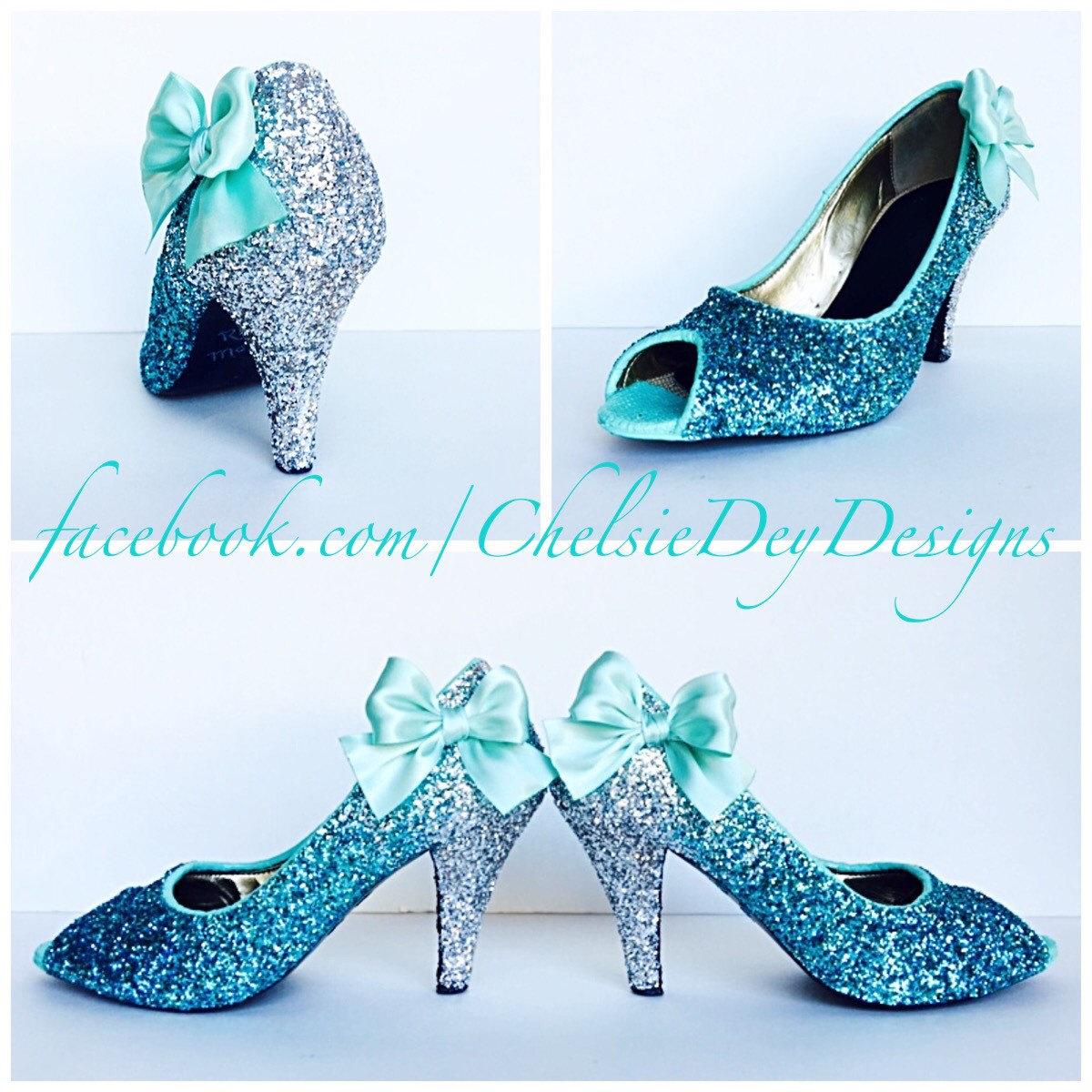 9a11d0e7055 Glitter High Heels - Royal Blue Robins Egg White Ombre - Peep Toe ...