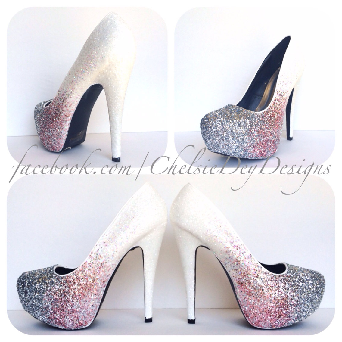 f84597dc01fb White Glitter Ombre High Heels - Pink Silver Fade Pumps - Platform ...
