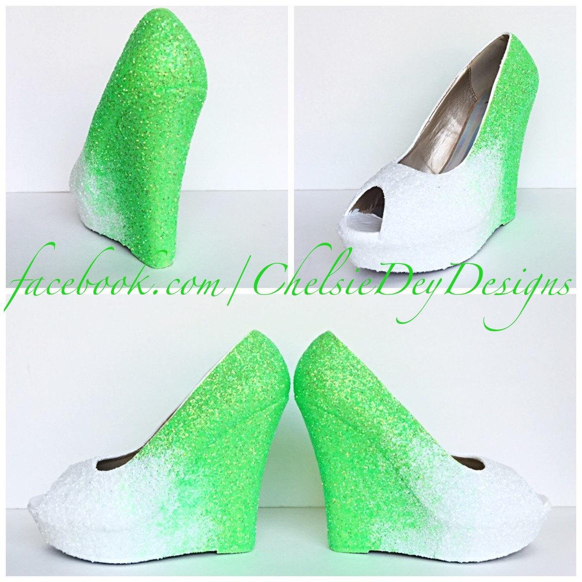 e264e28eae31 Green   White Glitter Wedges - Sparkly Ombre Peep Toe Platform Heel -  Glitzy Open Toe