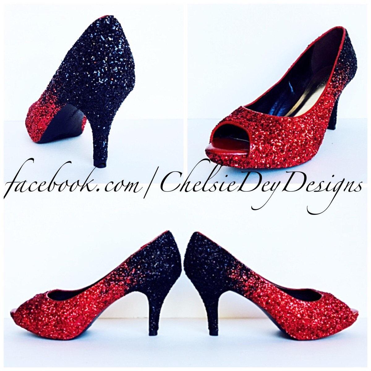 44f86b4cda6b Glitter High Heels, Black Red Pumps, Ombre Peep Toe Heels, Sparkly Wedding  Shoes