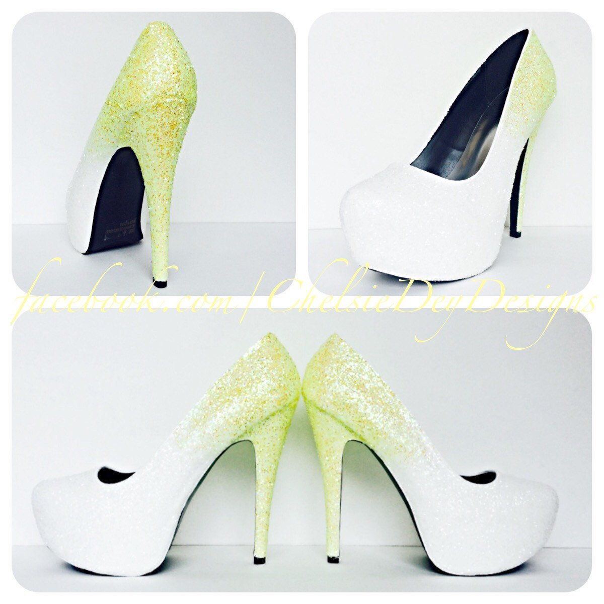 bd43db47cdb Glitter High Heels - Yellow White Ombre Pumps - Spakly Wedding Shoes -  Sparkly Lemon Yellow