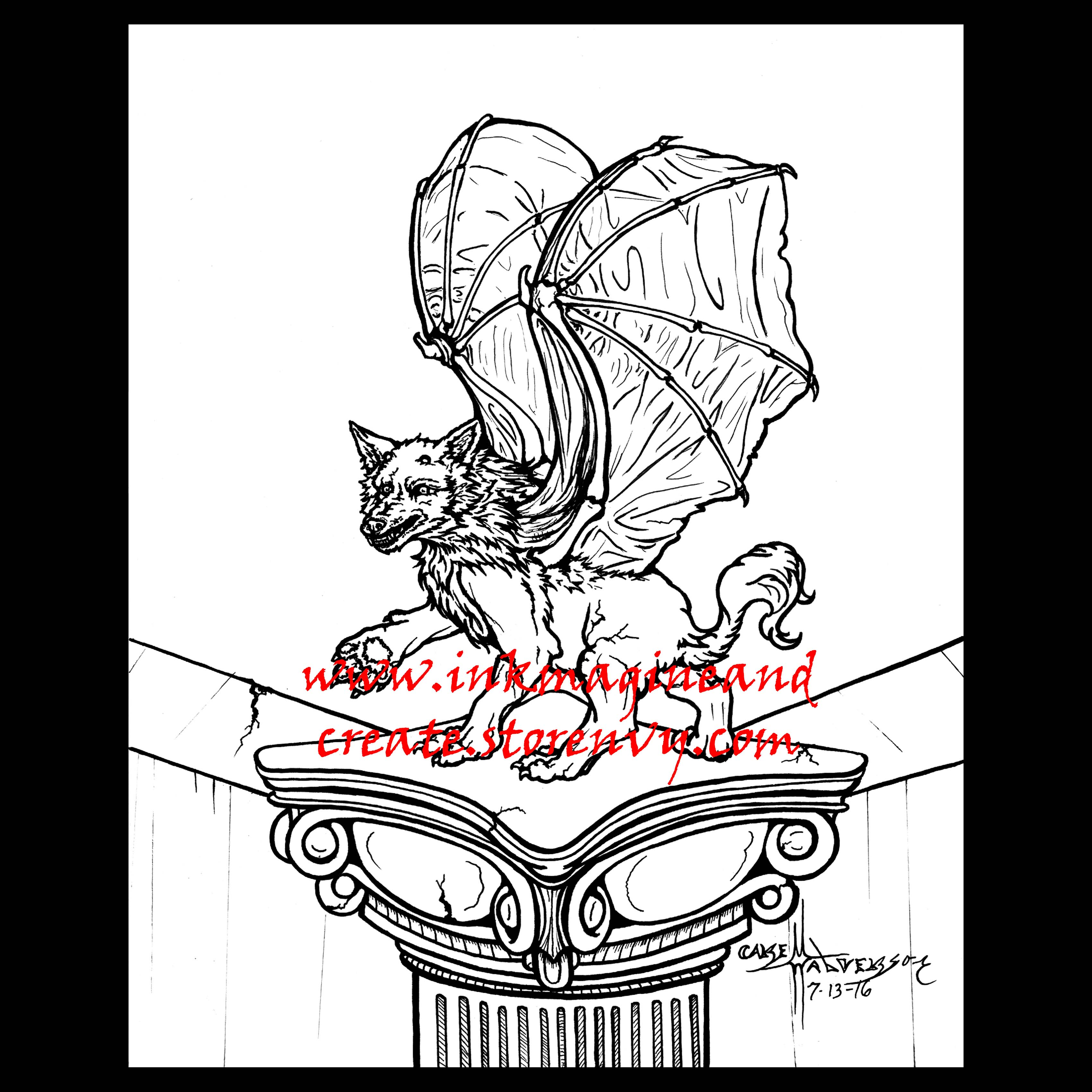 Gargoyle Coloring Poster · Inkmagine and Create · Online ...