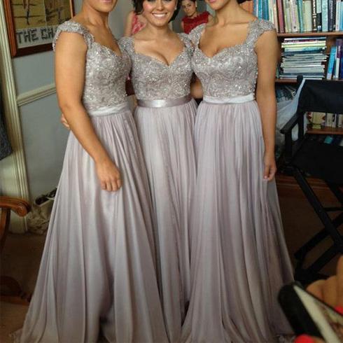 lace bridesmaid dresses, grey bridesmaid dresses, long bridesmaid ...