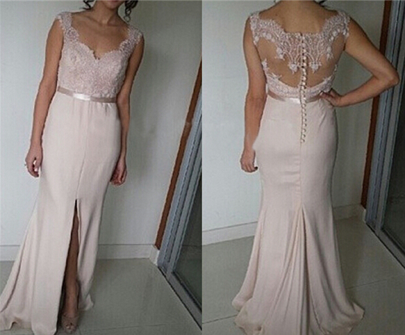 Beautiful light pink slit long prom dress with lace applique prom