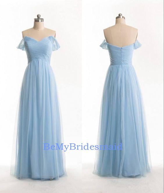 Pretty Simple Light Blue Tulle Long Prom Dresses, Bridesmaid Dresses ...