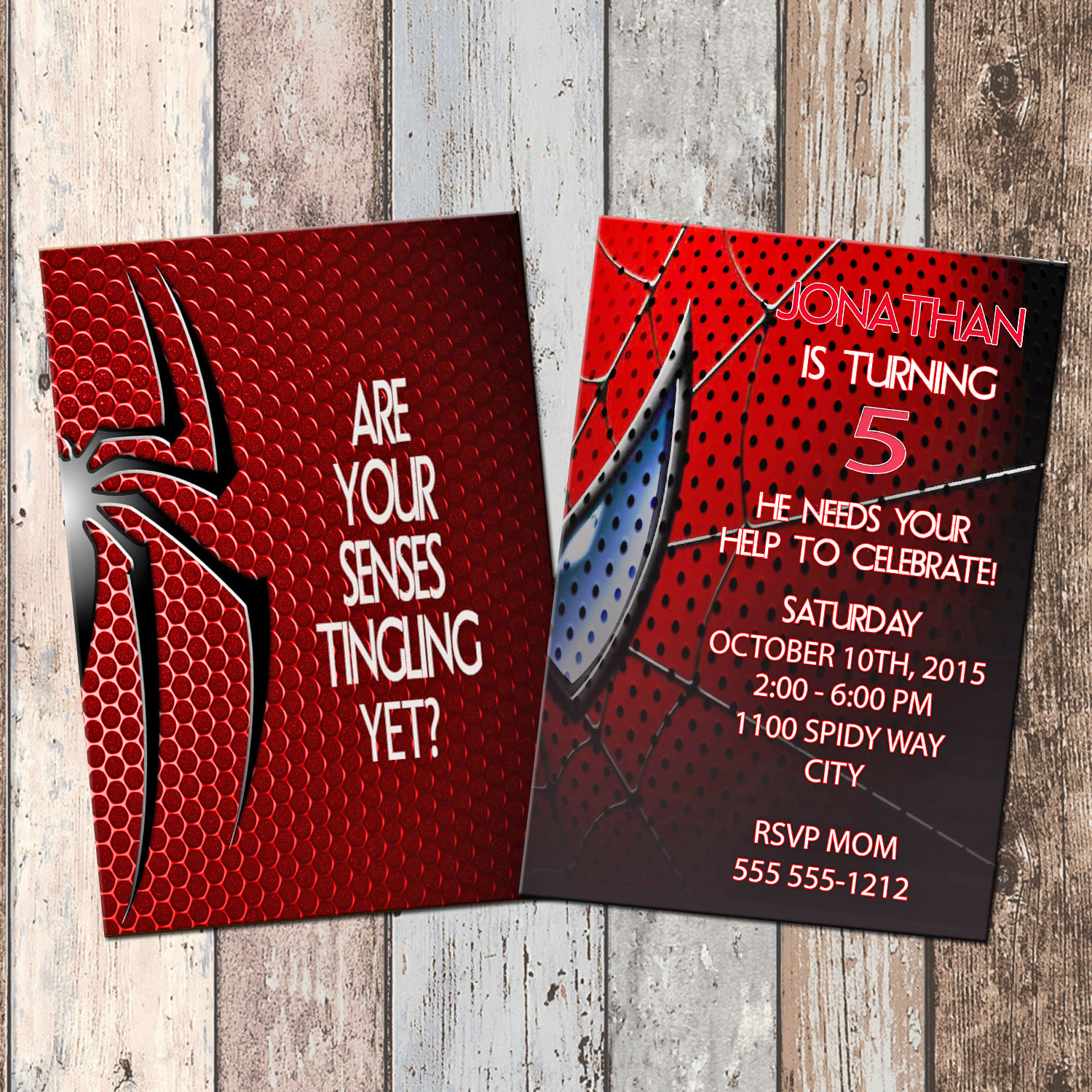 Spiderman Superhero Personalized Birthday Invitation 2 Sided