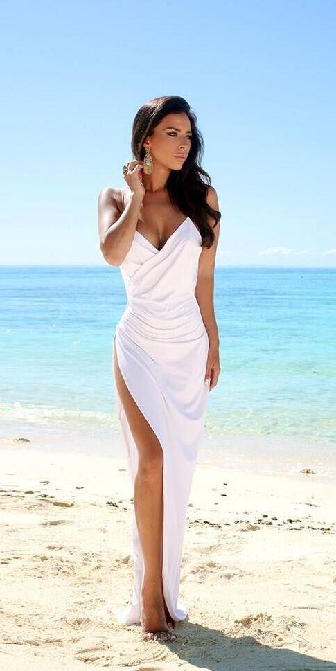Simple Sexy Open Back Beach Wedding Dresses Side Slit
