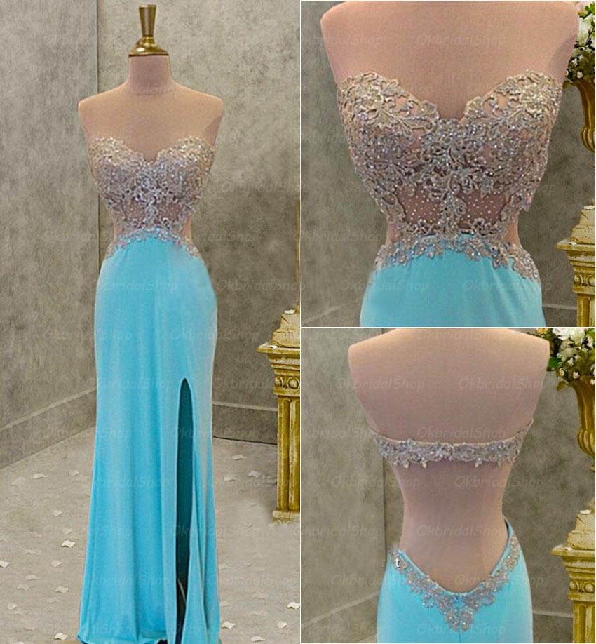 Blue sexy prom dress