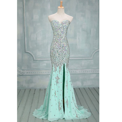 Gorgeous long prom dresses, shinning mint prom dress, sweet heart ...