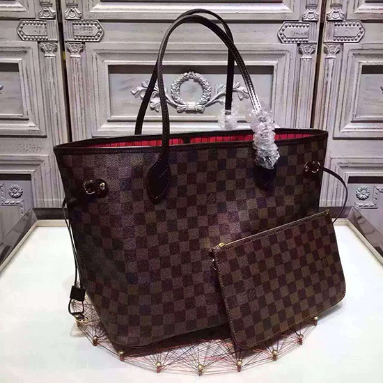 65abdd57ad Louis vuitton damier ebene canvas neverfull mm n41358 original