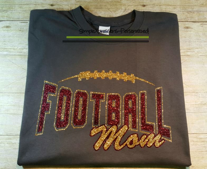 6e37ff76b78 GLITTER Football MOM shirt-You choose the colors · SimpleXpressions ...