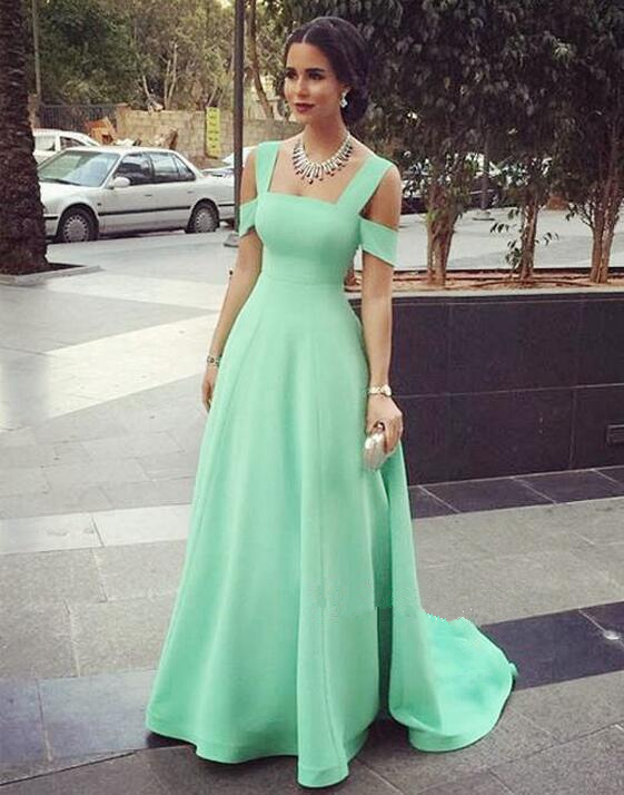 Modest Prom Gowns Elegant Mint Green Prom Dress Satin Evening ...