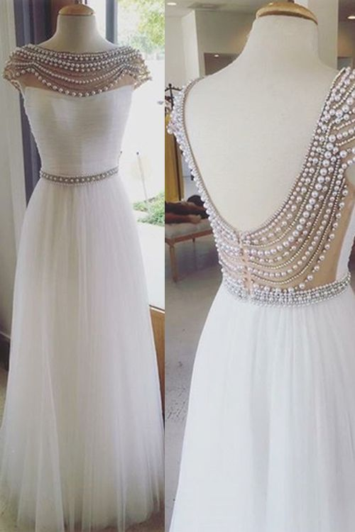 long custom prom dress,white prom dress,cap sleeve prom dress,pearl ...