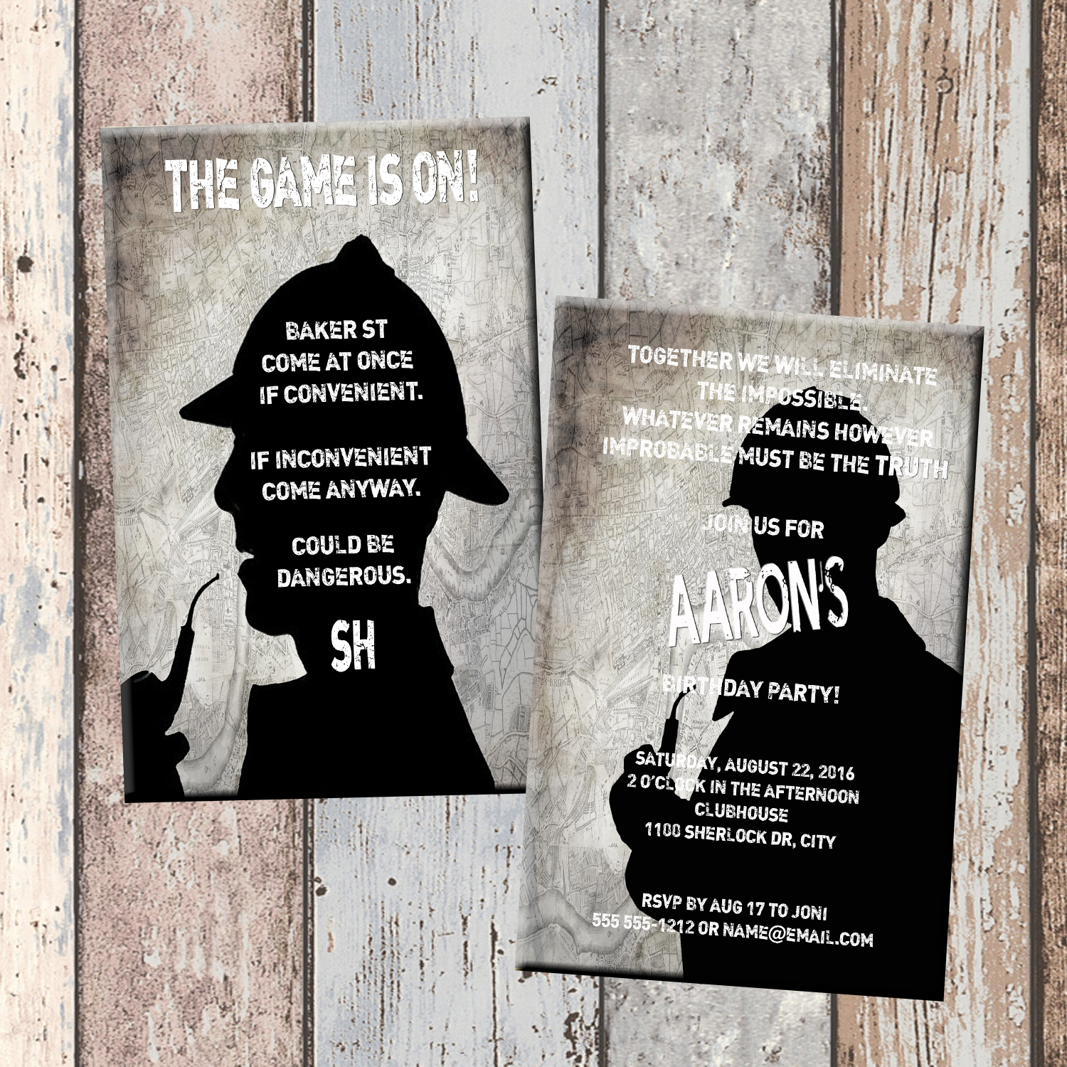 Sherlock Holmes Personalized Birthday Invitation 2 Sided Card Party Sleuth