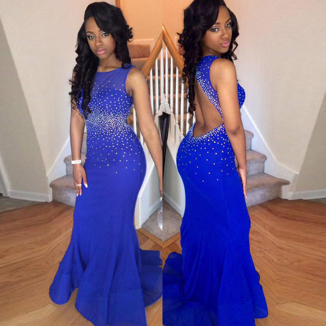 Sexy Backless Prom Dresses 2016 High School Prom Dress Mermaid Royal