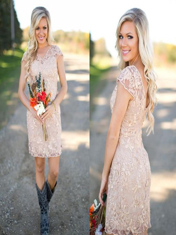 bac2ac7ed2dfa short bridesmaid dress, champagne bridesmaid dress, bridesmaid dress with  lace, dress with cowboy