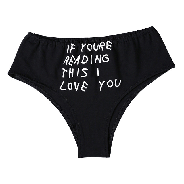 d4c5ae768 Print letters if youre reading this i love you briefs women black panty  seamless sexy lingerie