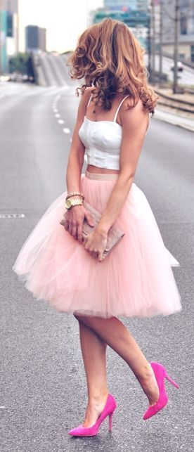 Romantic Pink Two Piece Tulle Prom Dresses Strapless