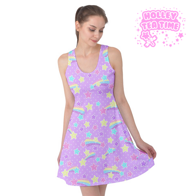 a14452102b Starry Party Purple Sleeveless Skater Dress ✨ Everyday Cutie Sale ✨ Made To  Order ✨