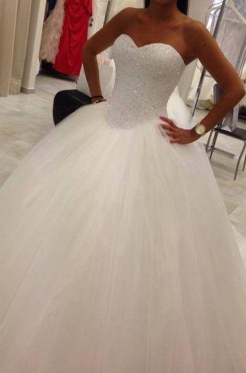 b8e813f0a55 Wedding Dress Ball Gown Beads Rhinestones Sweetheart Tulle ...