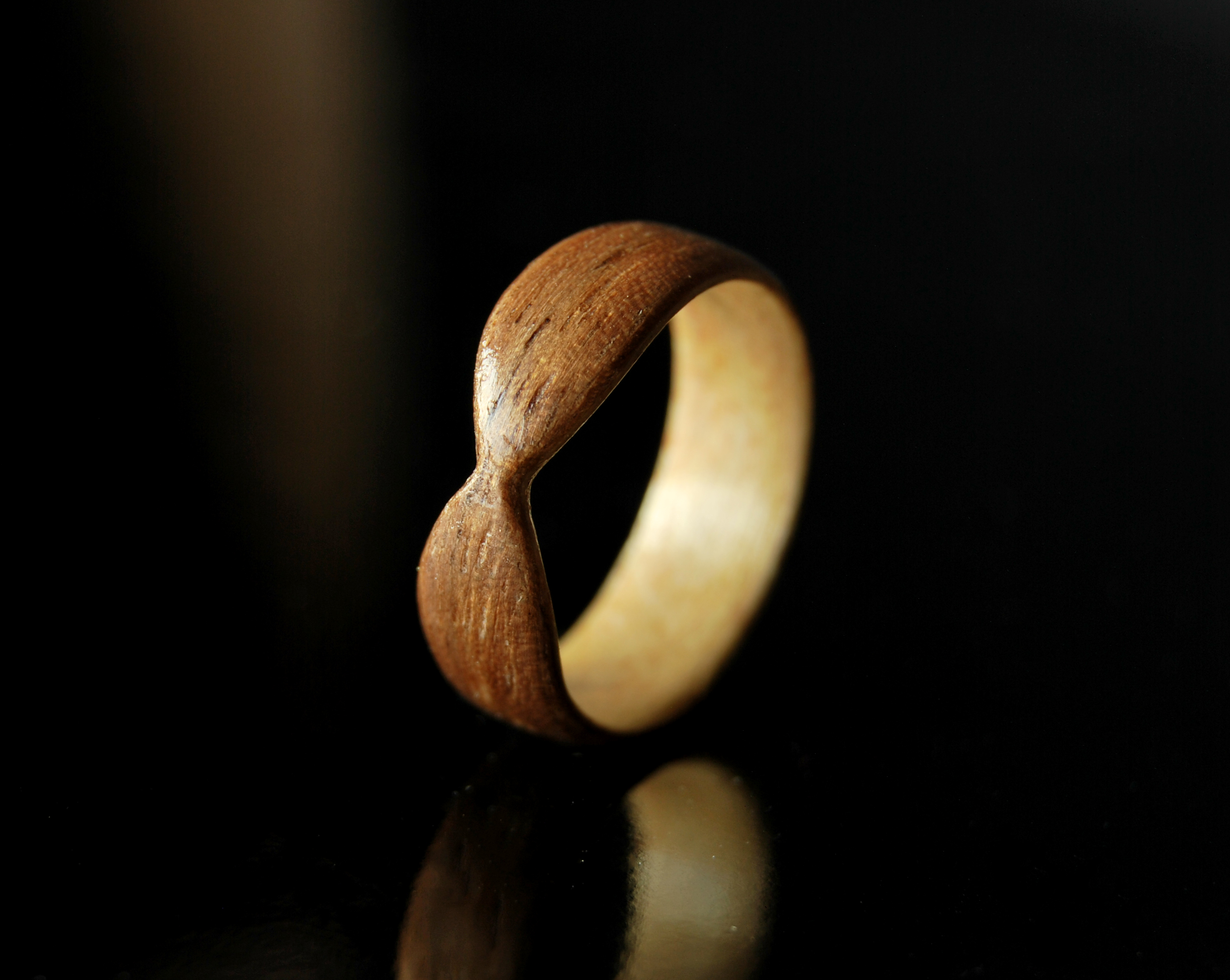 peas wooden simply set two wood rings in maple ring oak wedding band a pod