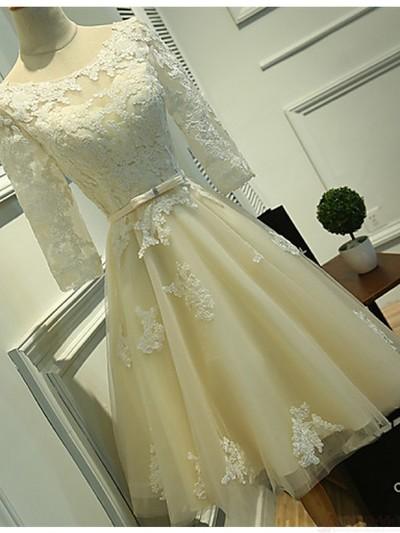 e5d6599b0d Long Sleeves Ivory Lace Tea Length Wedding Dresses