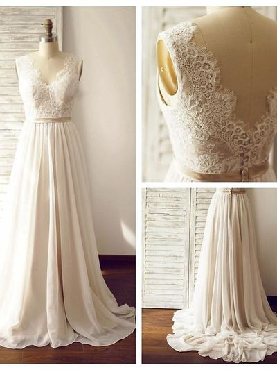96d140e569 Ivory Chiffon Lace Wedding Dresses With Champagne Belt,Long Bridal Gowns,Handmade  Wedding Gowns
