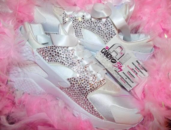 7245b1d1345 Crystal Swarovski White Nike Huarache Womens Sneakers on Storenvy