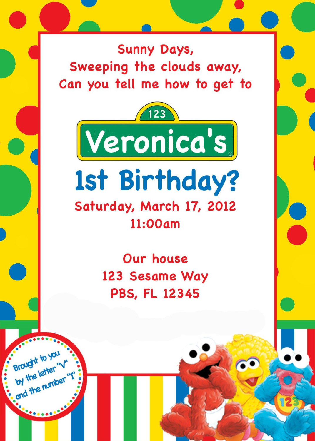 Sesame Street Inspired 4x6 Photo Card Birthday Invitation Featuring ...