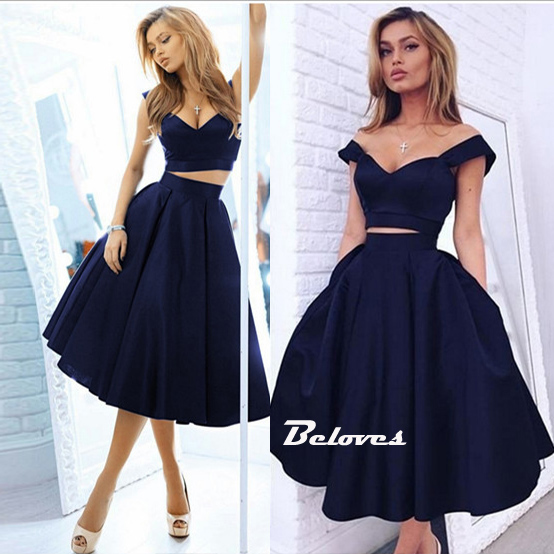 00bf07c33f90 Navy Blue Off The Shoulder Two Piece Satin Cocktail Dress · Beloves ...