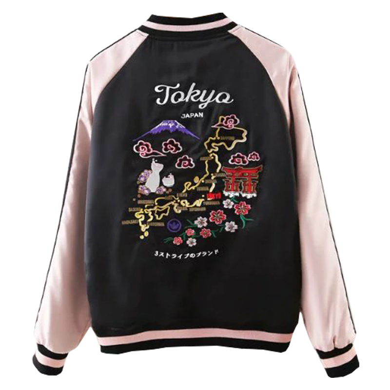 Autumn Tokyo Japan Map Embroidery Souvenir Bomber Jacket Winter