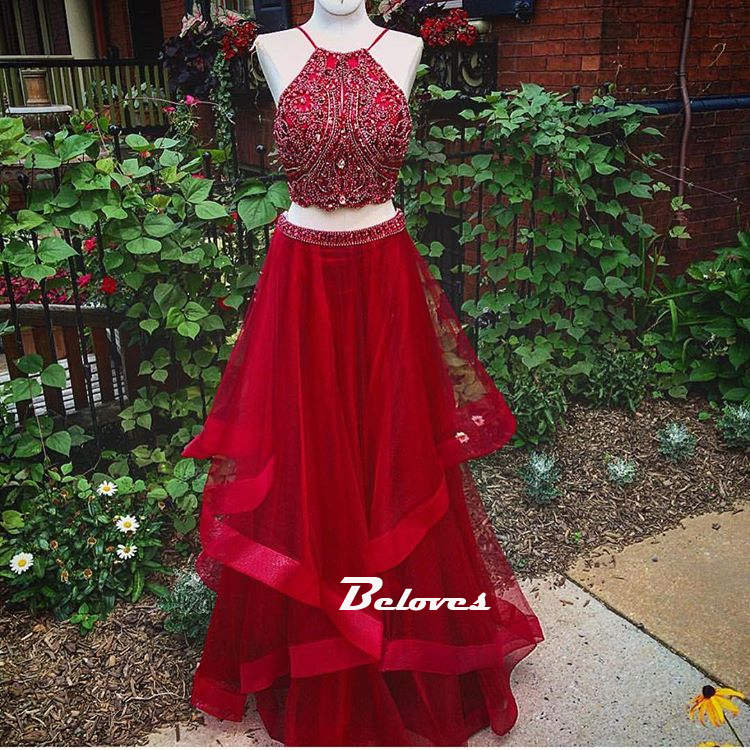 f32bb9d42 Beaded Red Halter Two Piece Prom Dress ,Formal Gown Layered Skirt ...