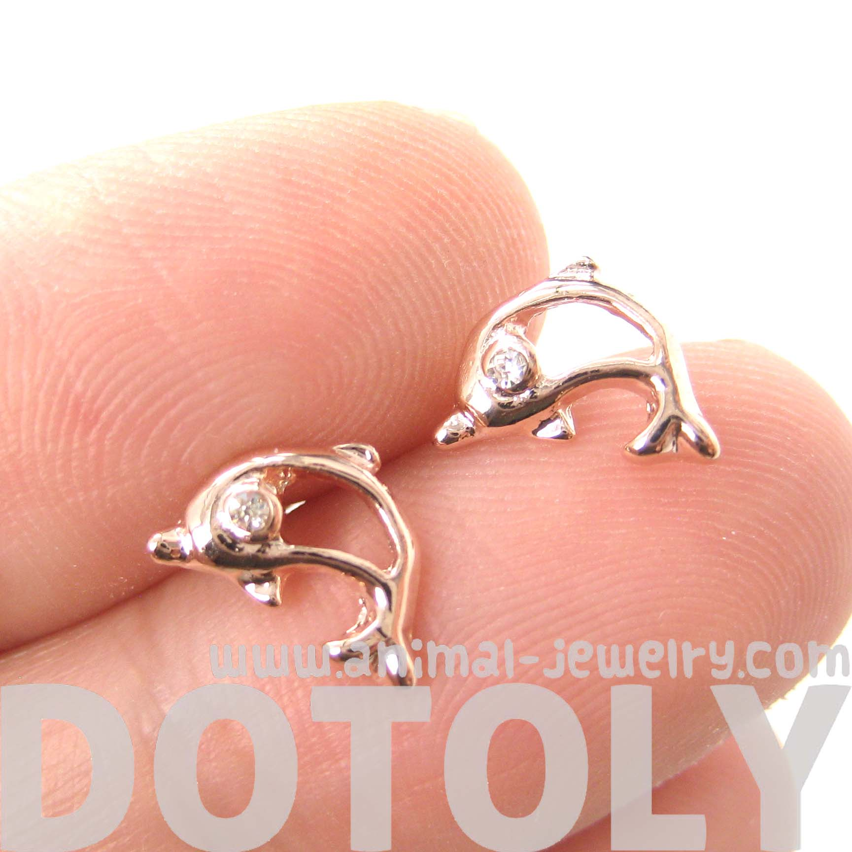 5fe21a909 ... Small Dolphin Shaped Sea Creature Stud Earrings In Rose Gold -  Thumbnail 2