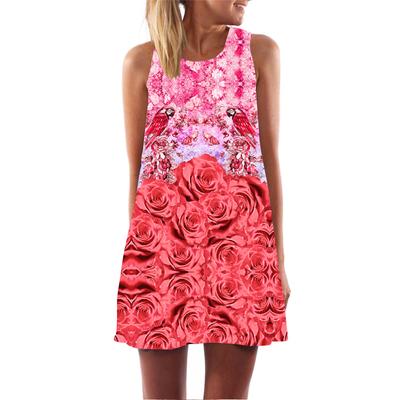 92f682d26211 Vintage style women sleeveless straight floral print tank dress 2016 summer  elegant club party dresses plus