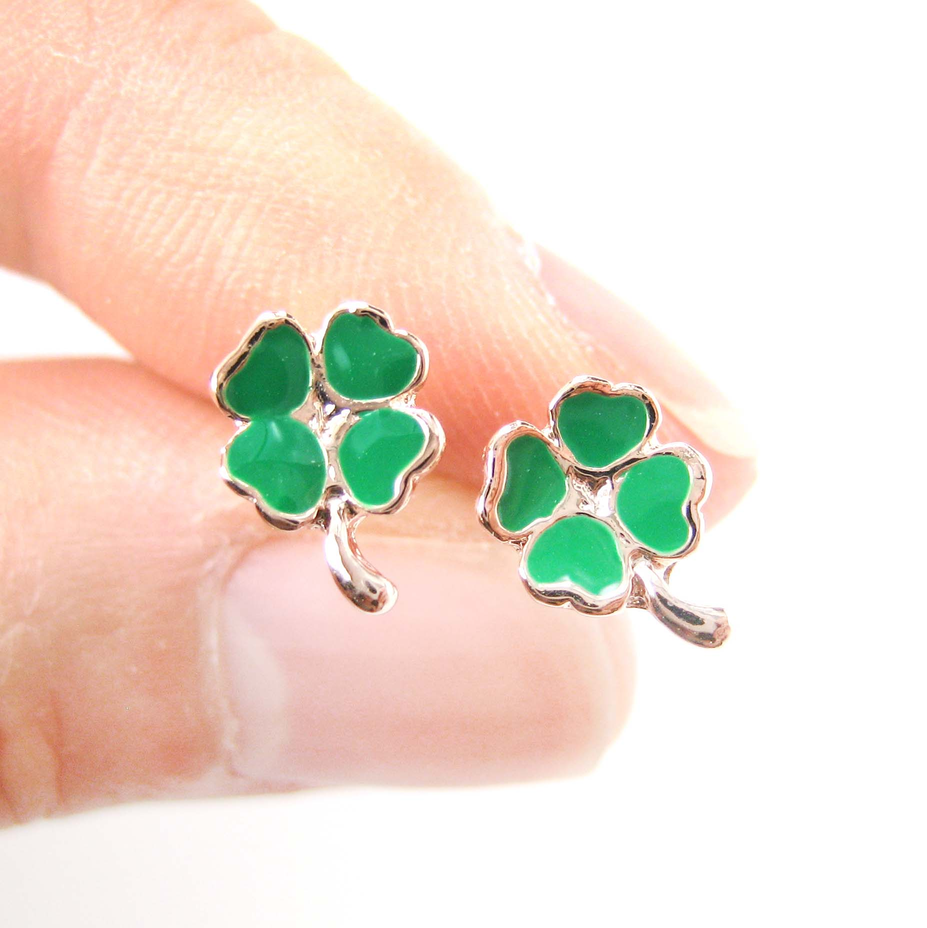 ac0ce42c5 Small Four Leaf Clover Shaped Stud Earrings In Green And Rose Gold ...