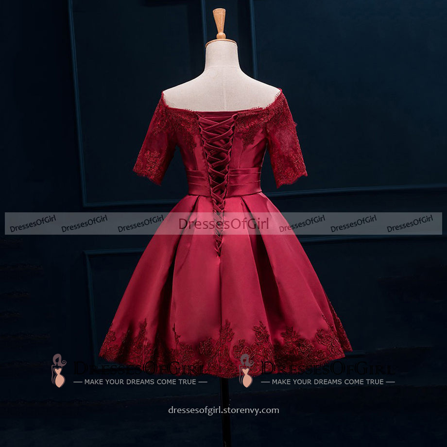 c9611ddb245f Off the Shoulder Red Satin Prom Dress with half Sleeves