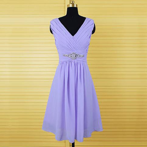 Elegant Purple Bridesmaid Dresses Knee Length Lavender